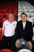 16 July 2008; Shelbourne manager Dermot Keely, left, with Dundalk manager John Gill after a Shelbourne and Dundalk joint press conference in advance of their match on Friday night. Tolka Park, Dublin. Picture credit: Brian Lawless / SPORTSFILE