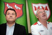16 July 2008; Shelbourne manager Dermot Keely, right, with Dundalk manager John Gill during a Shelbourne and Dundalk joint press conference in advance of their match on Friday night. Tolka Park, Dublin. Picture credit: Brian Lawless / SPORTSFILE