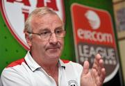 16 July 2008; Shelbourne manager Dermot Keely during a Shelbourne and Dundalk joint press conference in advance of their match on Friday night. Tolka Park, Dublin. Picture credit: Brian Lawless / SPORTSFILE