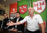 16 July 2008; Shelbourne manager Dermot Keely, right, with Dundalk manager John Gill and Dundalk captain Aidan Lynch speaking during a Shelbourne and Dundalk joint press conference in advance of their match on Friday night. Tolka Park, Dublin. Picture credit: Brian Lawless / SPORTSFILE