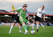 17 July 2008; Denis Behan, Cork City, in action against Kalle Parviainen, left, and Jusso Kangaskorpi, FC Haka. UEFA Cup First Qualifying Round, 1st Leg, Cork City v FC Haka, Turners Cross, Cork. Picture credit: Stephen McCarthy / SPORTSFILE