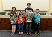 30 May 2015; Saoirse Davey, aged 7, Nessa Davey, aged 6, Mikey Davey, aged 11, and Fionn Davey, aged 6, all from Bannow, Wexford, at today's Bord Gáis Energy Legends Tour at Croke Park where he relived some of most memorable moments from his playing and managerial career. All Bord Gáis Energy Legends Tours include a trip to the GAA Museum, which is home to many exclusive exhibits, including the official GAA Hall of Fame. For booking and ticket information about the GAA legends for this summer's tours visit www.crokepark.ie/gaa-museum. Croke Park, Dublin. Picture credit: Piaras Ó Mídheach / SPORTSFILE