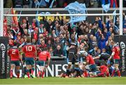 30 May 2015; Leone Nakarawa, Glasgow Warriors, celebrates his side's first try. Guinness PRO12 Final, Munster v Glasgow Warriors. Kingspan Stadium, Ravenhill Park, Belfast. Picture credit: Paul Mohan / SPORTSFILE