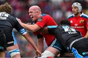 30 May 2015; Paul O'Connell, Munster, is tackled by Leone Nakarawa, Glasgow Warriors. Guinness PRO12 Final, Munster v Glasgow Warriors. Kingspan Stadium, Ravenhill Park, Belfast. Picture credit: Ramsey Cardy / SPORTSFILE
