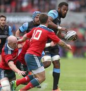 30 May 2015; Leone Nakarawa, Glasgow Warriors,  is tackled by Paul O'Connell and Felix Jones, Munster. Guinness PRO12 Final, Munster v Glasgow Warriors. Kingspan Stadium, Ravenhill Park, Belfast. Picture credit: John Dickson / SPORTSFILE