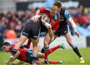 30 May 2015; Keith Earls, Munster, is tackled by DTH Van Der Merwe, Glasgow Warriors. Guinness PRO12 Final, Munster v Glasgow Warriors. Kingspan Stadium, Ravenhill Park, Belfast. Picture credit: Paul Mohan / SPORTSFILE