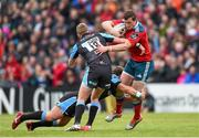 30 May 2015; Denis Hurley, Munster, is tackled by Finn Russell and Peter Horne, Glasgow Warriors. Guinness PRO12 Final, Munster v Glasgow Warriors. Kingspan Stadium, Ravenhill Park, Belfast. Picture credit: Paul Mohan / SPORTSFILE