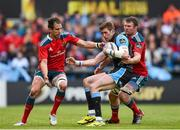 30 May 2015; Richie Vernon, Glasgow Warriors, is tackled by Andrew Smith, left, and Donnacha Ryan, Munster. Guinness PRO12 Final, Munster v Glasgow Warriors. Kingspan Stadium, Ravenhill Park, Belfast. Picture credit: Paul Mohan / SPORTSFILE