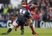 30 May 2015; Billy Holland, Munster, is tackled by Robert Harley, Glasgow Warriors. Guinness PRO12 Final, Munster v Glasgow Warriors. Kingspan Stadium, Ravenhill Park, Belfast. Picture credit: Paul Mohan / SPORTSFILE