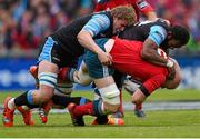 30 May 2015; Paul O'Connell, Munster, is tackled by Jonny Gray, left, and Leone Nakarawa, Glasgow Warriors. Guinness PRO12 Final, Munster v Glasgow Warriors. Kingspan Stadium, Ravenhill Park, Belfast. Picture credit: Paul Mohan / SPORTSFILE