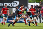 30 May 2015; Billy Holland, Munster, is tackled by Gordon Reid, left, and Josh Strauss, Glasgow Warriors. Guinness PRO12 Final, Munster v Glasgow Warriors. Kingspan Stadium, Ravenhill Park, Belfast. Picture credit: Paul Mohan / SPORTSFILE