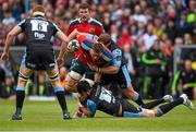 30 May 2015; CJ Stander, Munster, is tackled by Ryan Wilson, left, and Rossouw De Klerk, Glasgow Warriors. Guinness PRO12 Final, Munster v Glasgow Warriors. Kingspan Stadium, Ravenhill Park, Belfast. Picture credit: Paul Mohan / SPORTSFILE