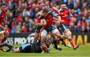 30 May 2015; Ian Keatley, Munster, is tackled by Dougie Hall, left, and Rossow De Klerk, Glasgow Warriors. Guinness PRO12 Final, Munster v Glasgow Warriors. Kingspan Stadium, Ravenhill Park, Belfast. Picture credit: Paul Mohan / SPORTSFILE