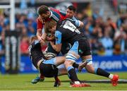30 May 2015; Donnacha Ryan, left, and Paddy Butler, Munster, are tackled by Finn Russell, left, and Jonny Gray, Glasgow Warriors. Guinness PRO12 Final, Munster v Glasgow Warriors. Kingspan Stadium, Ravenhill Park, Belfast. Picture credit: Paul Mohan / SPORTSFILE
