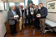 31 May 2015; The Beacon Hospital in association with First Ireland launched their new Sports Medicine Programme with the help of some past and present Republic of Ireland International soccer players John O'Shea, James McClean, Damien Duff and John Giles. Pictured from left are, John Giles, Dr Maurice Neligan, Head of Orthopedics, Sarah Sheridan, Director of First Ireland, Michael Cullen, CEO of Beacon Hospital, Colm Doherty, Chairman of Beacon Hospital, James McClean, Dr Alan Byrne, Beacon Consultant in Sports and Exercise Medicine, and Damien Duff. Beacon Hospital, Sandyford, Dublin. Picture credit: David Maher / SPORTSFILE