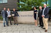 31 May 2015; The Beacon Hospital in association with First Ireland launched their new Sports Medicine Programme with the help of some past and present Republic of Ireland International soccer players John O'Shea, James McClean, Damien Duff and John Giles. Pictured are John O'Shea, James McClean, Damien Duff, Sarah Sheridan, Director of First Ireland, Dr Alan Byrne, Beacon Consultant in Sports and Exercise Medicine, and Dr Maurice Neligan, Head of Orthopedics. Beacon Hospital, Sandyford, Dublin.