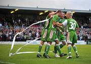17 July 2008; Dan Murray, Cork City, is congratulated by team-mate Colin Healy, left, Denis Behan and Liam Kearney, 30, after scoring his side's second goal. UEFA Cup First Qualifying Round, 1st Leg, Cork City v FC Haka, Turners Cross, Cork. Picture credit: Stephen McCarthy / SPORTSFILE