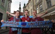 22 July 2008; Drogheda United fans, from left, Karl Lawless, from Dunleer, Co. Louth, Aaron Brady, from Bettystown, Co. Meath, and Gavin Leonard, from Drogheda, Co. Louth, in Tallinn ahead of the match against Levadia Talinn tomorrow. Tallinn, Estonia. Picture credit: Paul Mohan / SPORTSFILE