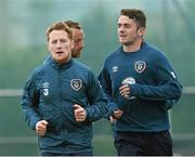 1 June 2015; Republic of Ireland's Stephen Quinn, left, and Robbie Brady in action during squad training. Republic of Ireland Squad Training, Gannon Park, Malahide, Co. Dublin. Picture credit: David Maher / SPORTSFILE