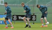 1 June 2015; Republic of Ireland players, from left, Robbie Brady, James McClean and James McCarthy during squad training. Republic of Ireland Squad Training, Gannon Park, Malahide, Co. Dublin. Picture credit: David Maher / SPORTSFILE