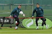 1 June 2015; Republic of Ireland goalkeepers Shay Given, left, and David Forde in action during squad training. Republic of Ireland Squad Training, Gannon Park, Malahide, Co. Dublin. Picture credit: David Maher / SPORTSFILE