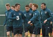 1 June 2015; Republic of Ireland's Robbie Brady, left, and Stephen Quinn in action during squad training. Republic of Ireland Squad Training, Gannon Park, Malahide, Co. Dublin. Picture credit: David Maher / SPORTSFILE