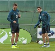 1 June 2015; Republic of Ireland's Daryl Murphy, left, and Seamus Coleman in action during squad training. Republic of Ireland Squad Training, Gannon Park, Malahide, Co. Dublin. Picture credit: David Maher / SPORTSFILE