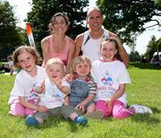 27 July 2008; Winners of the 5K Fun Run, Annette Kealy and husband Eoin Brady, both from Raheny Shamrocks A.C., with their children, from left, Ellie, 6, Aaron, 1, Sean, 3, and Lia, 9. Athletics Ireland Family Fun Festival, Farmleigh, Phoenix Park, Dublin. Picture credit: Tomas Greally / SPORTSFILE