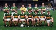 11 August 1985; The Kerry team, back row from left to right, Jack O'Shea, Tom Spillane, Charlie Nelligan, John Higgins, Mikey Sheehy and Pat Spillane. Front row left to right, Eoin Liston, Tommy Doyle, Paidi O Se, Ambrose O'Donovan, Mick Spillane, John Kennedy and Ogie Moran. All Ireland Football Semi-Final, Kerry v Monaghan, Croke Park, Dublin. Picture credit: Ray McManus / SPORTSFILE