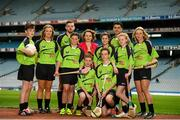 3 June 2015; The Lenovo GAA Skills Hubs, a collaboration between Lenovo and The Gaelic Athletic Association, Gaelic Players Association, the Camogie Association, and the Ladies Gaelic Football Association launched today in Croke Park. The initiative offers the chance for young people between 13 to 16 years of age, the opportunity to learn Gaelic football and hurling skills from their inter-county heroes and heroines, in high quality venues across the country this summer. Pictured at the launch is Fiona O' Brien, County Manager, Lenovo Ireland, with GAA stars, back row, from left, Monaghan ladies footballer Ellen McCarron, Cork hurler Cormac Murphy, Dublin footballer Bernard Borgan and Fiona Hickey, Limerick Camogie, with St. Brigids GAA Club stars, from left, Joe Gleeson, age 14, Lauren Quane, age 12, Mark Delaney, age 13,  Darragh Byrne, age 13, Isabelle Duffy, age 14, and Heather Fitzsimons, age 13. Croke Park, Dublin. Picture credit: Stephen McCarthy / SPORTSFILE