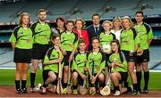 3 June 2015; The Lenovo GAA Skills Hubs, a collaboration between Lenovo and The Gaelic Athletic Association, Gaelic Players Association, the Camogie Association, and the Ladies Gaelic Football Association launched today in Croke Park. The initiative offers the chance for young people between 13 to 16 years of age, the opportunity to learn Gaelic football and hurling skills from their inter-county heroes and heroines, in high quality venues across the country this summer. Pictured at the launch is Fiona O' Brien, County Manager, Lenovo Ireland, centre, Catherine Neary, President of the Camogie Association, left, Gaelic Players Association, Chief Executive, Dessie Farrell, and LGFA President Maire Hickey with GAA stars, from left, Monaghan ladies footballer Ellen McCarron, Cork hurler Cormac Murphy, Fiona Hickey, Limerick Camogie, and Dublin footballer Bernard Borgan with St. Brigids GAA Club stars, from left, Joe Gleeson, age 14, Lauren Quane, age 12, Mark Delaney, age 13,  Darragh Byrne, age 13, Heather Fitzsimons, age 13, and Isabelle Duffy, age 14. Croke Park, Dublin. Picture credit: Stephen McCarthy / SPORTSFILE