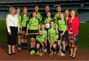 3 June 2015; The Lenovo GAA Skills Hubs, a collaboration between Lenovo and The Gaelic Athletic Association, Gaelic Players Association, the Camogie Association, and the Ladies Gaelic Football Association launched today in Croke Park. The initiative offers the chance for young people between 13 to 16 years of age, the opportunity to learn Gaelic football and hurling skills from their inter-county heroes and heroines, in high quality venues across the country this summer. Pictured at the launch is Fiona O' Brien, County Manager, Lenovo Ireland, right, and LGFA President Maire Hickey and Mark Deering, Director of Corporate Affairs for Sky Ireland, centre, with GAA stars, from left, Monaghan ladies footballer Ellen McCarron, Dublin footballer Bernard Brogan, Cork hurler Cormac Murphy and Fiona Hickey, Limerick Camogie, with St. Brigids GAA Club stars, from left, Joe Gleeson, age 14, Lauren Quane, age 12, Mark Delaney, age 13, Isabelle Duffy, age 14, Darragh Byrne, age 13, and Heather Fitzsimons, age 13. Croke Park, Dublin. Picture credit: Stephen McCarthy / SPORTSFILE