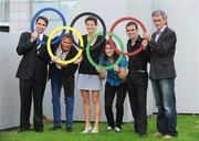 29 July 2008; RTE's analysts for the games include, from left, Gary O'Toole, swimming, Eamonn Coghlan and Sonia O'Sullivan, athletics, Katie Taylor and Bernard Dunne, boxing and Jerry Kiernan, athletics, at the announcement of RTE's details of its coverage for the 2008 Beijing Olympics. RTE Television, Donnybrook, Dublin. Picture credit: Brendan Moran / SPORTSFILE