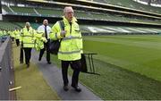 7 June 2015; Security staff arrive ahead of the game game. Three International Friendly, Republic of Ireland v England. Aviva Stadium, Lansdowne Road, Dublin. Picture credit: David Maher / SPORTSFILE