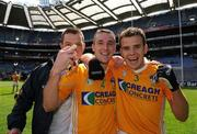 2 August 2008; Paul Conlon,4, with John Finucane, left, and Andy McClean,3, Antrim, celebrate after the final whistle. Tommy Murphy Cup Final, Antrim v Wicklow, Croke Park, Dublin. Picture credit: Matt Browne / SPORTSFILE
