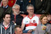 7 June 2015; Joe Brolly, right, and his father Francie enjoying the game. Ulster GAA Football Senior Championship Quarter-Final, Derry v Down. Celtic Park, Derry. Picture credit: Oliver McVeigh / SPORTSFILE