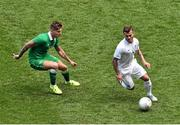 7 June 2015; Jack Wilshere, England, in action against Jeff Hendrick, Republic of Ireland. Three International Friendly, Republic of Ireland v England. Aviva Stadium, Lansdowne Road, Dublin. Picture credit: Ramsey Cardy / SPORTSFILE