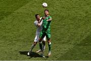 7 June 2015; Daryl Murphy, Republic of Ireland, in action against Chris Smalling, England. Three International Friendly, Republic of Ireland v England. Aviva Stadium, Lansdowne Road, Dublin. Picture credit: Ramsey Cardy / SPORTSFILE
