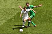 7 June 2015; Jack Wilshere, England, in action against Daryl Murphy, Republic of Ireland. Three International Friendly, Republic of Ireland v England. Aviva Stadium, Lansdowne Road, Dublin. Picture credit: Ramsey Cardy / SPORTSFILE