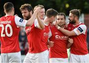 9 June 2015; St. Patrick's Athletic's Christy Fagan, second from right, celebrates after scoring his side's first goal with team-mates, from left, Aaron Greene, James Chambers, Chris Forrester, Ian Bermingham and Greg Bolger. SSE Airtricity League Premier Division, St. Patrick's Athletic v Bohemians FC, Richmond Park, Dublin. Picture credit: David Maher / SPORTSFILE
