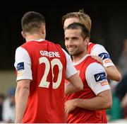 9 June 2015;  St. Patrick's Athletic's Christy Fagan, right, celebrates after scoring his side's second goal with team-mate Aaron Greene and Chris Forrester. SSE Airtricity League Premier Division, St. Patrick's Athletic v Bohemians FC, Richmond Park, Dublin. Picture credit: David Maher / SPORTSFILE