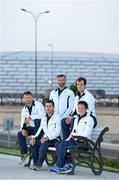 10 June 2015; The Canoe Sprint team, from left, Simas Dobrovolskis, Andrzej Jezierski, Peter Egan, Tom Brennan and Jenny Egan poses for a picture front of the Olympic Stadium ahead of the 2015 European Games in Baku, Azerbaijan. Picture credit: Stephen McCarthy / SPORTSFILE