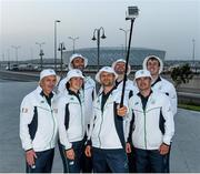 10 June 2015; The Canoe Sprint team, from left, Canoe Sprint Ireland team manager Tom Egan, Jenny Egan, Peter Egan, Simas Dobrovolskis, Baku 2015 European Games Canoe Sprint Team manager Dave Pringle, Andrzej Jezierski and Tom Brennan take their picture front of the Olympic Stadium ahead of the 2015 European Games in Baku, Azerbaijan. Picture credit: Stephen McCarthy / SPORTSFILE