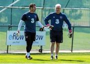 11 June 2015; Republic of Ireland's Shay Given, left, and goalkeeping coach Seamus McDonagh during squad training. Gannon Park, Malahide, Co. Dublin. Picture credit: Seb Daly / SPORTSFILE