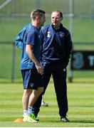 11 June 2015; Republic of Ireland's Robbie Keane, left, in conversation with manager Martin O'Neill during squad training. Gannon Park, Malahide, Co. Dublin. Picture credit: Seb Daly / SPORTSFILE