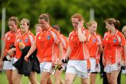 9 August 2008; Armagh's Maeve Morriarty and Caoimhe Marley, right, leave the field with their team-mates after the game against Tyrone. TG4 All-Ireland Ladies Senior Football Championship Qualifier, Round 2, Tyrone v Armagh, Dromard GAA Club, Legga, Co. Longford. Picture credit: Matt Browne / SPORTSFILE