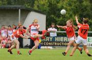 9 August 2008; Gemma Begley, Tyrone, in action against Caoimhe Marley, left, Marion McGuinness and Sharon Reel, 17, Armagh. TG4 All-Ireland Ladies Senior Football Championship Qualifier, Round 2, Tyrone v Armagh, Dromard GAA Club, Legga, Co. Longford. Picture credit: Matt Browne / SPORTSFILE