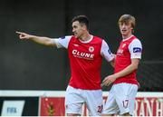 12 June 2015; Aaron Greene, St Patrick's Athletic, left, celebrates after scoring his side's second goal of the game with team-mate Chris Forrester. SSE Airtricity League Premier Division, St Patrick's Athletic v Limerick FC, Richmond Park, Dublin. Picture credit: Matt Browne / SPORTSFILE