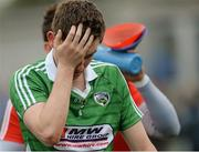 13 June 2015; Laois goalkeeper Graham Brody, leaves the field dejected after the game. Leinster GAA Football Senior Championship, Quarter-Final Replay Kildare v Laois. O'Connor Park, Tullamore, Co. Offaly. Picture credit: Piaras Ó Mídheach / SPORTSFILE