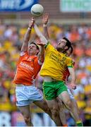 14 June 2015; Finnian Moriarty and Aidan Forker, Armagh, in action against Mark McHugh, Donegal. Ulster GAA Football Senior Championship Quarter-Final, Armagh v Donegal. Athletic Grounds, Armagh. Picture credit: Oliver McVeigh / SPORTSFILE